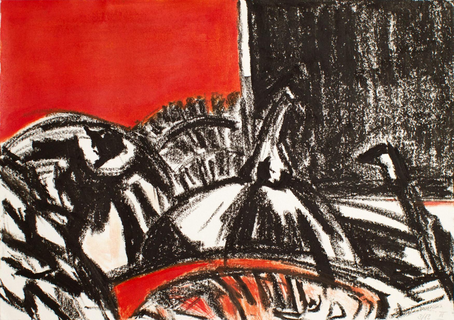ohne Titel, 2013 Ölkreide und Acryl auf Papier 29,5 x 42 cm